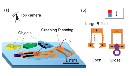 Planning spin-walking locomotion for automatic grasping of microobjects by an untethered magnetic microgripper